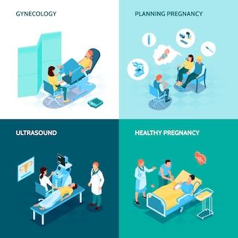 Gynäkologie- und schwangerschaftskonzeptikonen stellten mit der isometrischen lokalisierten illustration der planungsschwangerschaftssymbole ein