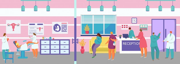Gynäkologische arztuntersuchung, karikaturfrau-patientencharakter auf gynäkologenuntersuchung im krankenzimmerschrank