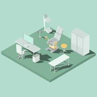 Gynäkologisches büro mit ausrüstung