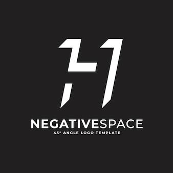H buchstabe negativer raum geometrisches alphabet markieren logo-vektor-symbol-illustration
