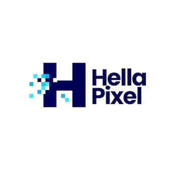 H-buchstaben-pixel-markierung digitale 8-bit-logo-vektor-symbol-illustration