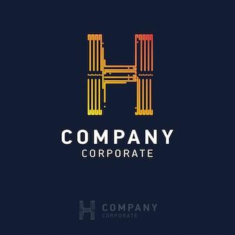 H-Firmenlogodesign mit Visitenkartevektor
