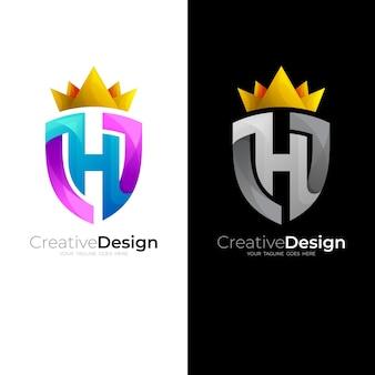 H-logo- und schilddesign-kombination, königssymbole