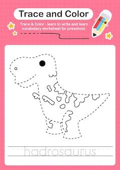 H verfolgungswort für dinosaurier und färbung des verfolgungsarbeitsblatts mit dem wort hadrosaurus