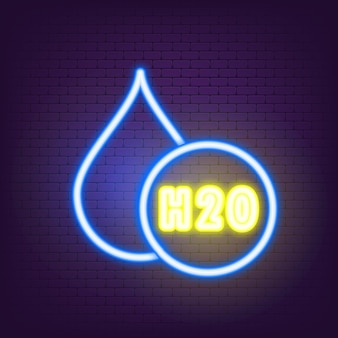 H2o-neon-symbol. wassertropfen-symbol-logo. chemische formel h2o. vektor-illustration. flaches design.