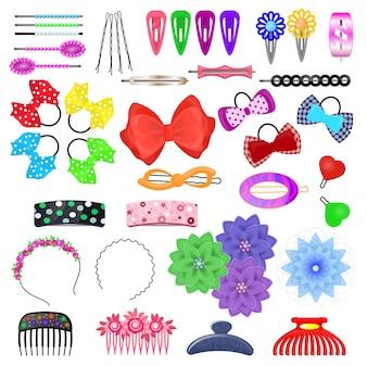Haar-accessoire-vektor kinder haarnadel oder haarspange und haarspange pferdeschwanz für mädchenhafte frisur