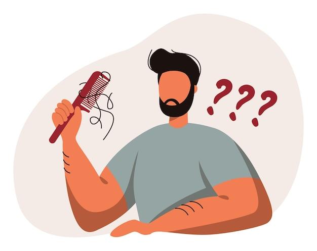 Haarausfall, alopezie, haarprobleme, kahlheit. eine männliche person mit einem kamm in der hand.