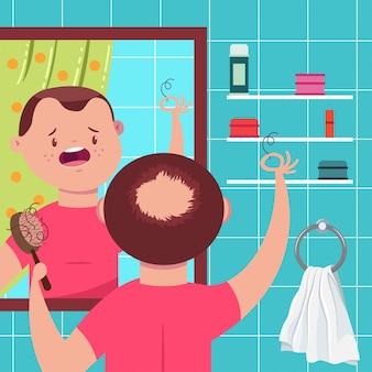 Haarausfall-vektor-konzept-illustration. kahler mann mit einem kamm im badezimmer schaut in den spiegel. lustige zeichentrickfigur.
