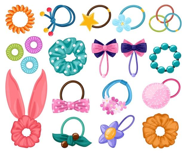 Haargummibänder. cartoon-haargummis, haarschmuck für mädchenhafte schönheitsmode, elastische pferdeschwanzbänder