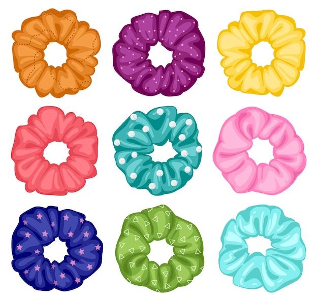 Haargummis. cartoon elastische frisurenbänder, textile elastische ringe, mädchenhafte frisur