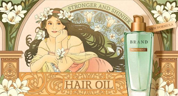 Haarölproduktbanner mit mucha artgöttin, die freesia hält