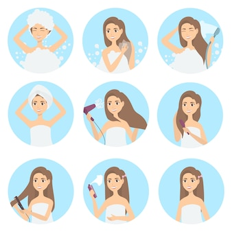 Haarpflegeset. frauen waschen, kämmen und stylen pflege.