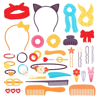 Haarschmuck. cartoon-stirnband mit schleife, haarnadel, clips, haargummis und niedlichen gummibändern mit blumen. kopfrand und kammvektorsatz. illustrationsband und stirnband für haare