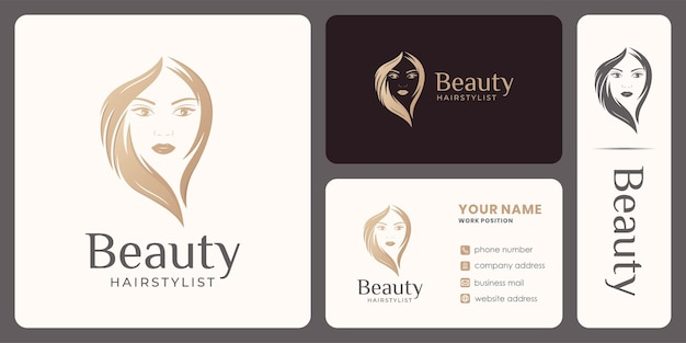Haarschönheitsfrauenlogodesign für verjüngungskur, friseur, salon.