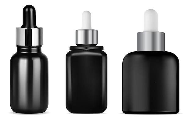 Haarserum-tropfflasche, schwarzes glas