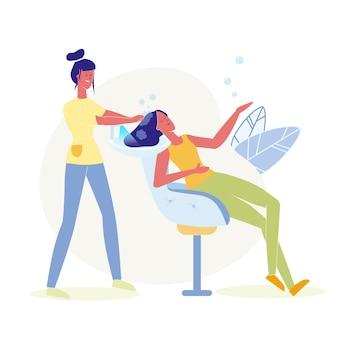 Haarwäsche, färbende flache illustration