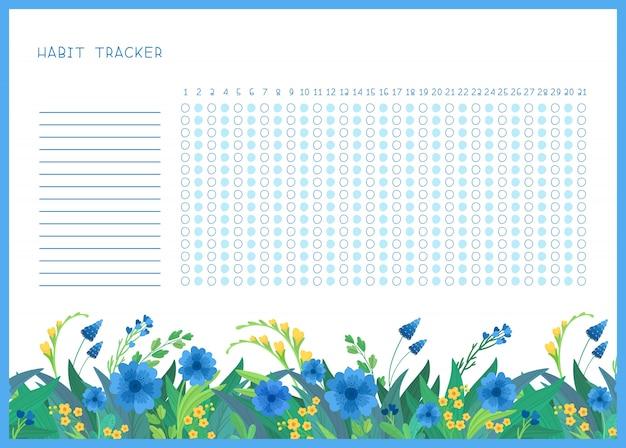 Habit tracker für monat flache vorlage. frühlingsblaue und gelbe wilde blumen themenbezogene leere, persönliche organisator mit dekorativem rahmen.