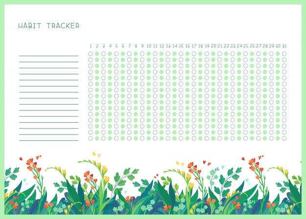 Habit tracker für monat flache vorlage. frühlingswildblumen themenorientierte leere, persönliche organisator mit dekorativem rahmen. blumenrand der sommersaison mit stilisiertem schriftzug