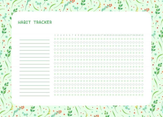 Habit tracker für monat flache vorlage. frühlingswildblumen themenorientierter leerer, persönlicher organisator mit dekorativem rahmen. blumenrand der sommersaison mit stilisiertem schriftzug