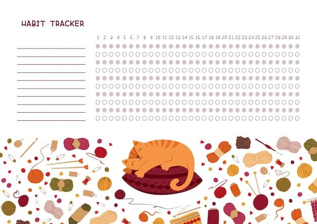 Habit tracker für monat. stricken themen leer, persönlicher organizer mit dekorativem rahmen.
