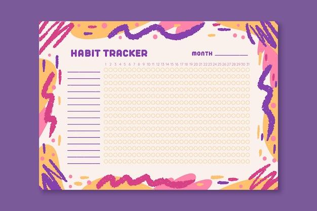 Habit tracker mit farbigen wellenlinien