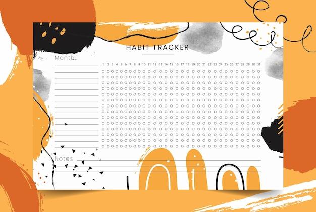 Habit tracker monatsplaner habit tracker leere vorlage monatsplaner vektor-illustration