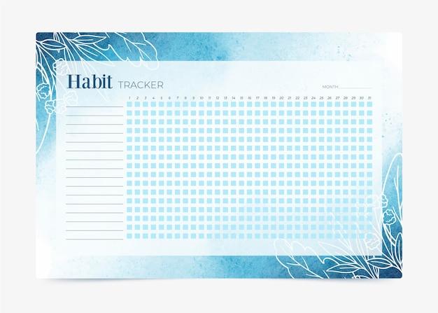 Habit tracker vorlage farbverlauf blau