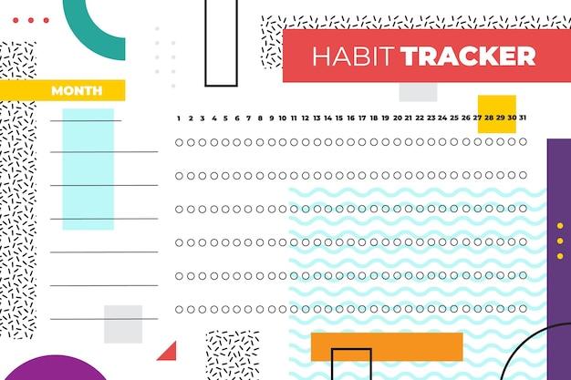 Habit tracker vorlage im memphis-stil