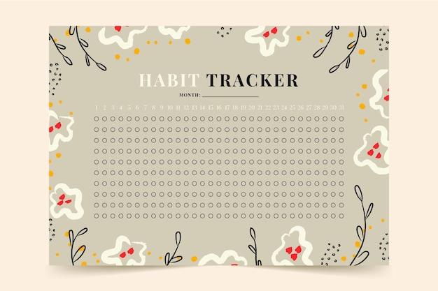 Habit tracker vorlage mit blumen und blättern
