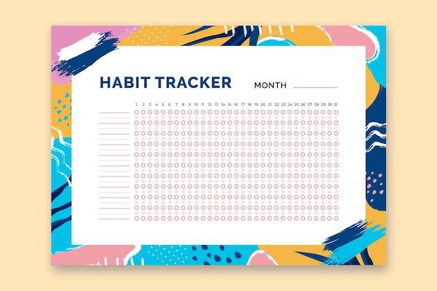 Habit tracker vorlage mit bunten formen