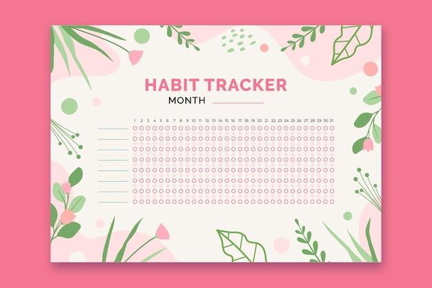 Habit tracker vorlage mit pflanzen
