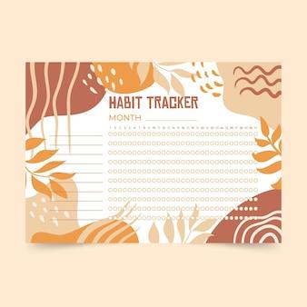 Habit tracker vorlage mit warmen farben