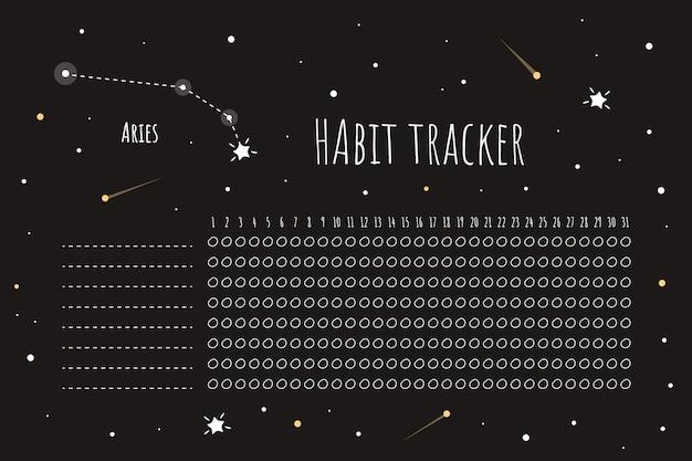 Habit tracker vorlage mit widderzeichen
