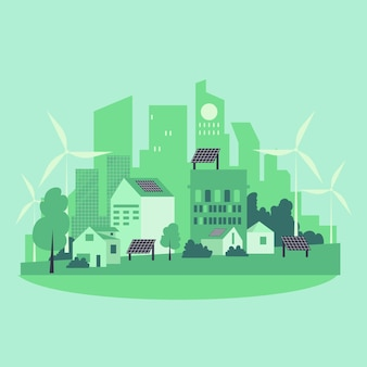 Habitat-tagesillustration mit grüner stadt