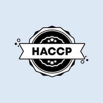 Haccp-stempel. vektor. haccp-abzeichensymbol. zertifiziertes abzeichenlogo. stempelvorlage. etikett, aufkleber, symbole. vektor-eps 10. getrennt auf weißem hintergrund.