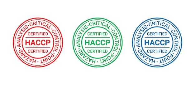 Haccp-zertifizierter stempel. qualitätsgarantie-abzeichen. siegelaufdruck des lebensmittelsicherheitssystems. rundes emblem
