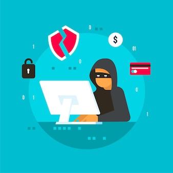 Hacker-aktivität, die informationen sucht und stiehlt