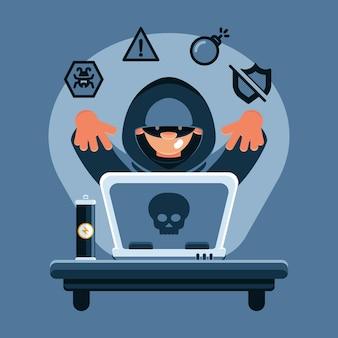Hacker-aktivität, die persönliche informationen stiehlt