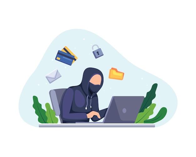 Hacker-aktivitätskonzept illustration. hacker, der an einem laptop arbeitet, hacker-cyber-diebstahl-persönliche informationen. vektor in einem flachen stil