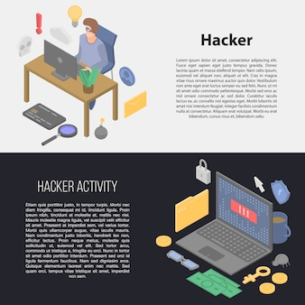 Hacker banner set, isometrische stil