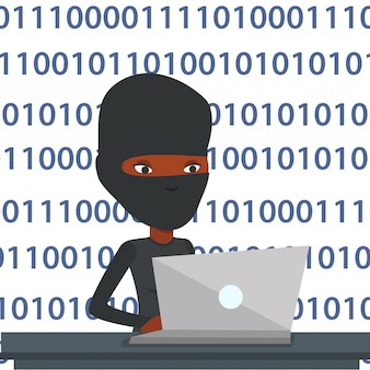 Hacker benutzt laptop, um informationen zu stehlen.