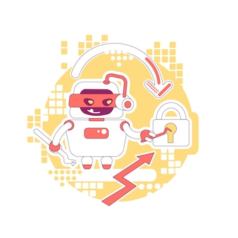 Hacker bot dünne linie konzept illustration. passwort, daten und inhalte des persönlichen kontos stehlen. schlechte schaberroboter-zeichentrickfigur für web. kreative idee für cyber-angriffe