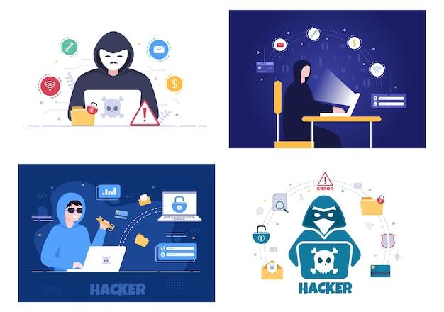 Hacker, der computerserver verwendet, um gehackte datenbankhintergrund-vektorillustration zu aktivieren