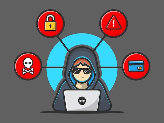 Hacker, der eine laptop-ikone betreibt. hacker und laptop. hacker-und technologie-ikone getrennt