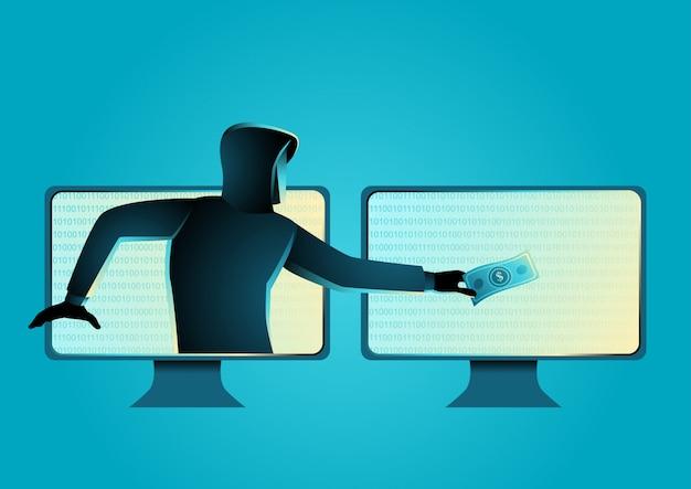 Hacker, der geld stiehlt