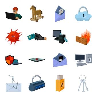 Hacker der gesetzten ikone der cyberkarikatur. abbildung cyber-schutz. isolierte cartoon-set symbol hacker-betrug.