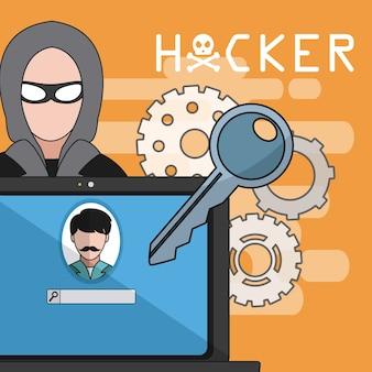 Hacker, der laptop mit passwortvektor-illustrationsgrafikdesign hackt