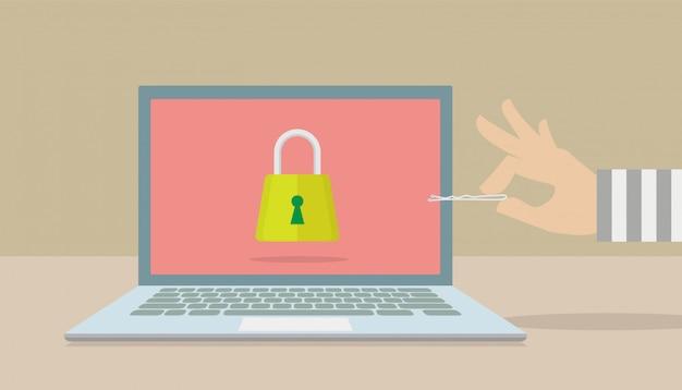 Hacker, die versuchen, die sicherheit ihres computers zu durchdringen.