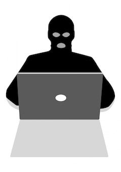 Hacker hinter laptop-computer