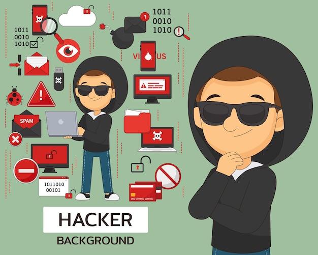 Hacker-konzept-hintergrund. flache symbole.